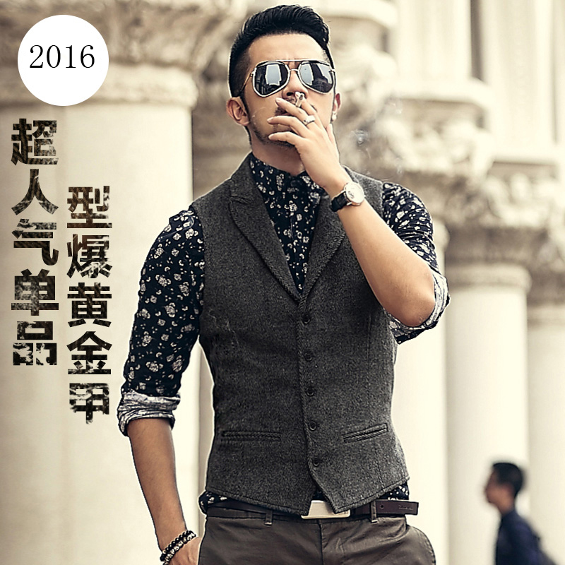 men 39 s brand sleeveless jacket waistcoat men suit vest fashion male british style slim woolen. Black Bedroom Furniture Sets. Home Design Ideas