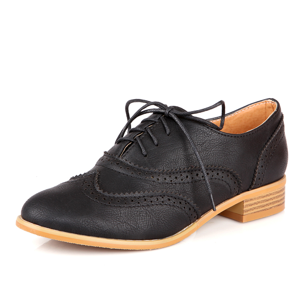 Faux Leather Casual Lace Up Round Toe Black Brogue Ankle ...