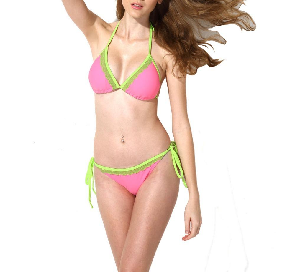 Get Quotations · 2015 Summer Solid Womenu0027s Sexy Halter Swimsuit Push Up  Bikini Set Neoprene Swimming Costume Lace Bathing