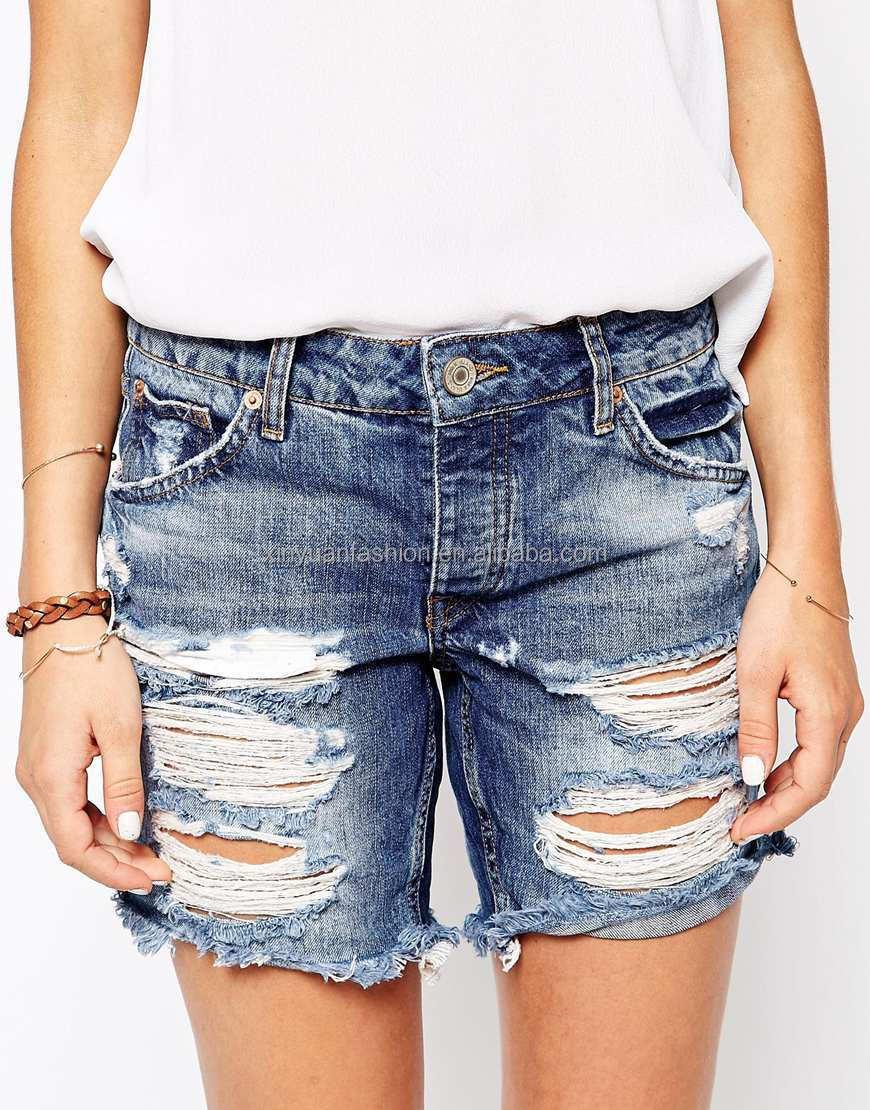 Ladies Boyfriend Super Ripped Denim Short Denim Jeans Shorts - Buy ...