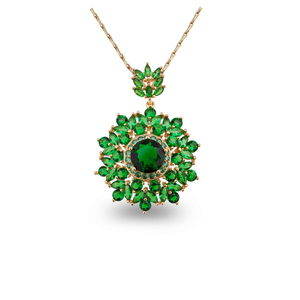 Gold Plated Green Crystal Womens Jewelry Necklace