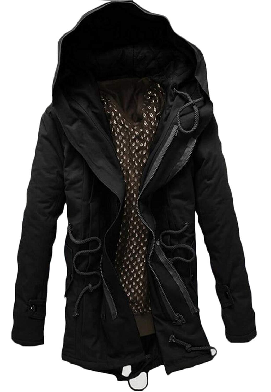 YUNY Mens Zip Hooded Down Pockets Warm Casual Winter Parka Jacket Black S