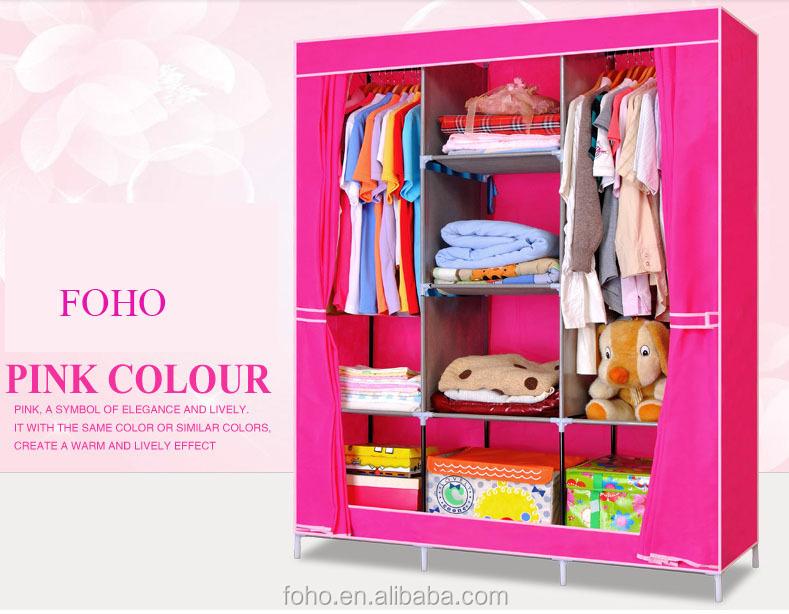 ()Hot Sale More Color Folding Canvas Wardrobe For Bedroom
