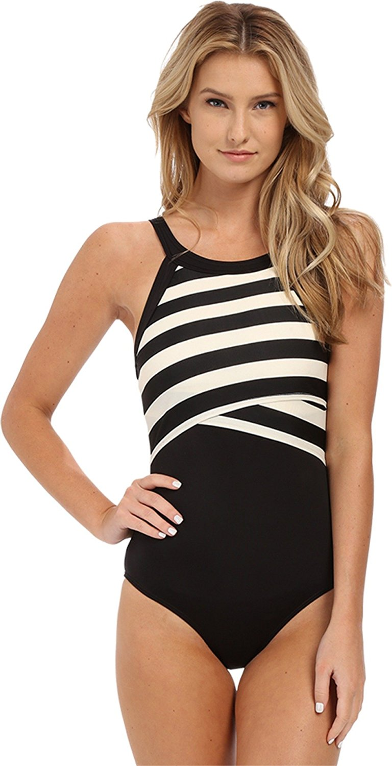 c09e74a0198ec Buy DKNY Swim Stripe High Neck Maillot One Piece Black Size 4 in ...