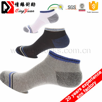 Factory wholesales 100% cotton boat men ankle socks with towel bottom