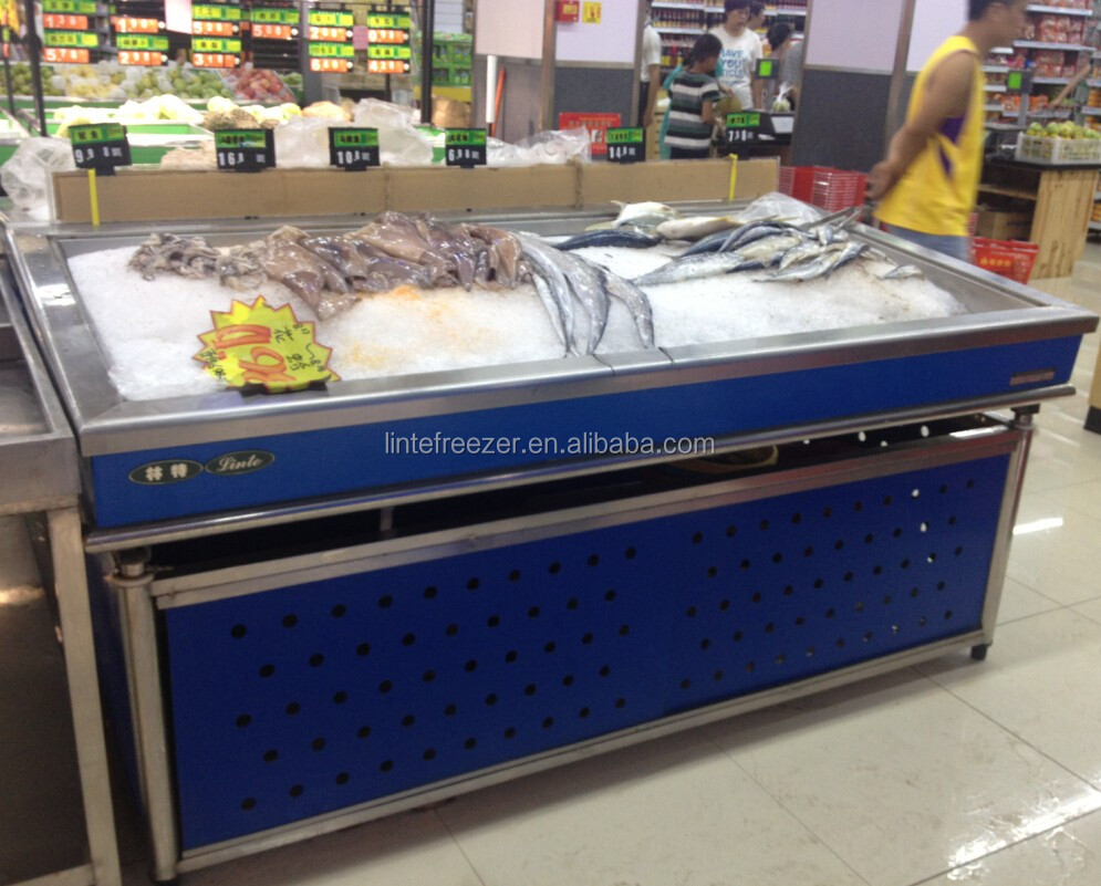 Lintee stainless steel ice fresh fish refrigerated table for Fresh fish store