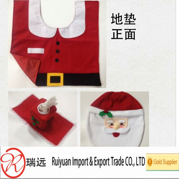 Hot!!! 3pcs Fancy Santa Toilet Seat Cover And Rug Bathroom Set ...