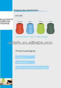 2014 creative mini fashionable portable pumpkin bluetooth speaker orange/brown/green/blue fit for laptop/mp3/DVD/PC