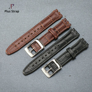 Charm genuine leather watchband 17 19 mm metal buckle handmade calfskin watch strap belt for swatch wristwatch