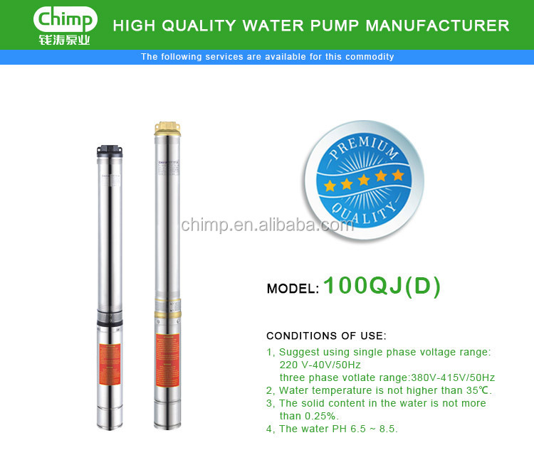 4 inchs 2HP single phase Stainless Steel Electric Deep Well Submersible Water Pump for agriculture