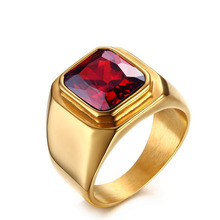 <span class=keywords><strong>Nieuwste</strong></span> goud ruby ring <span class=keywords><strong>ontwerpen</strong></span> voor mannen titanium staal zirkoon ring