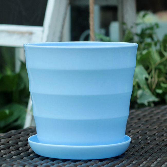 Eco-friendly Flowerpot Gardening Round Mini planter Plastic Flower Pots with tray