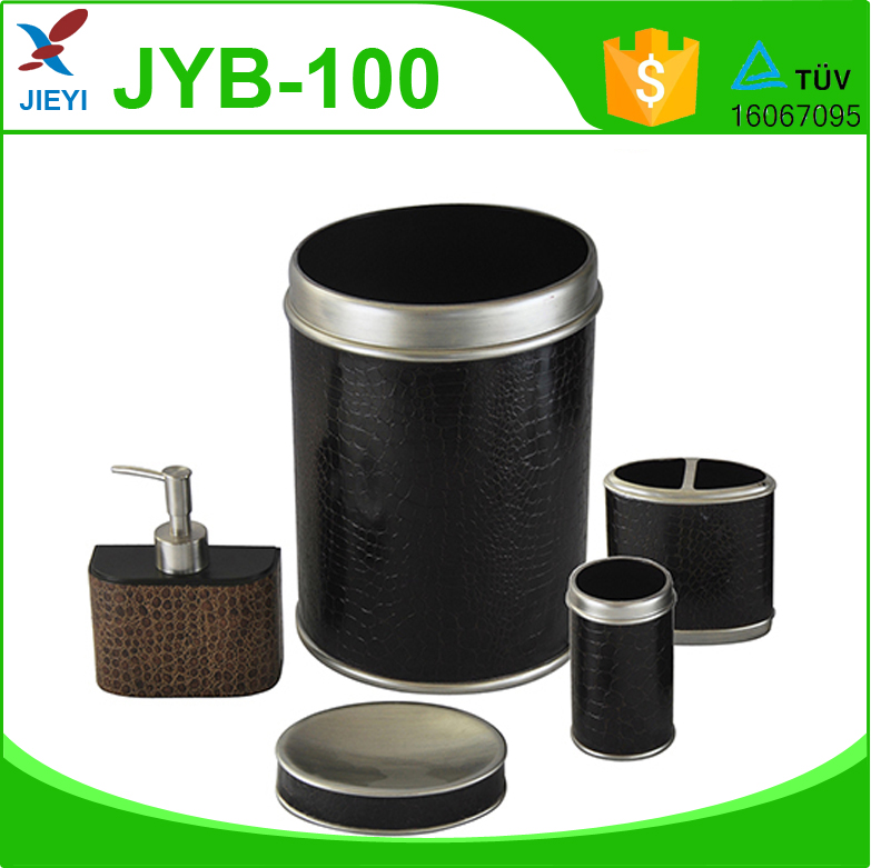 Noble classic black durable leather effect resin bathroom for Bright bathroom sets