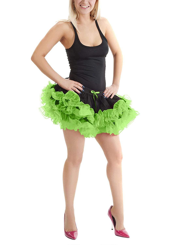MA ONLINE Womens Fancy 2 Layers Black Green Short Ruffle Tutu Skirt Ladies Party Wear Skirt
