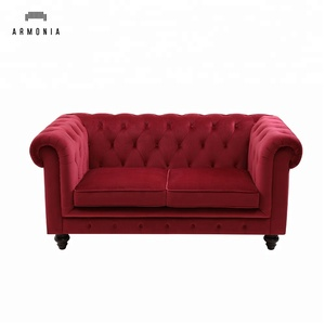 European style red velvet chesterfield sofa cover furniture in China  DongGuan