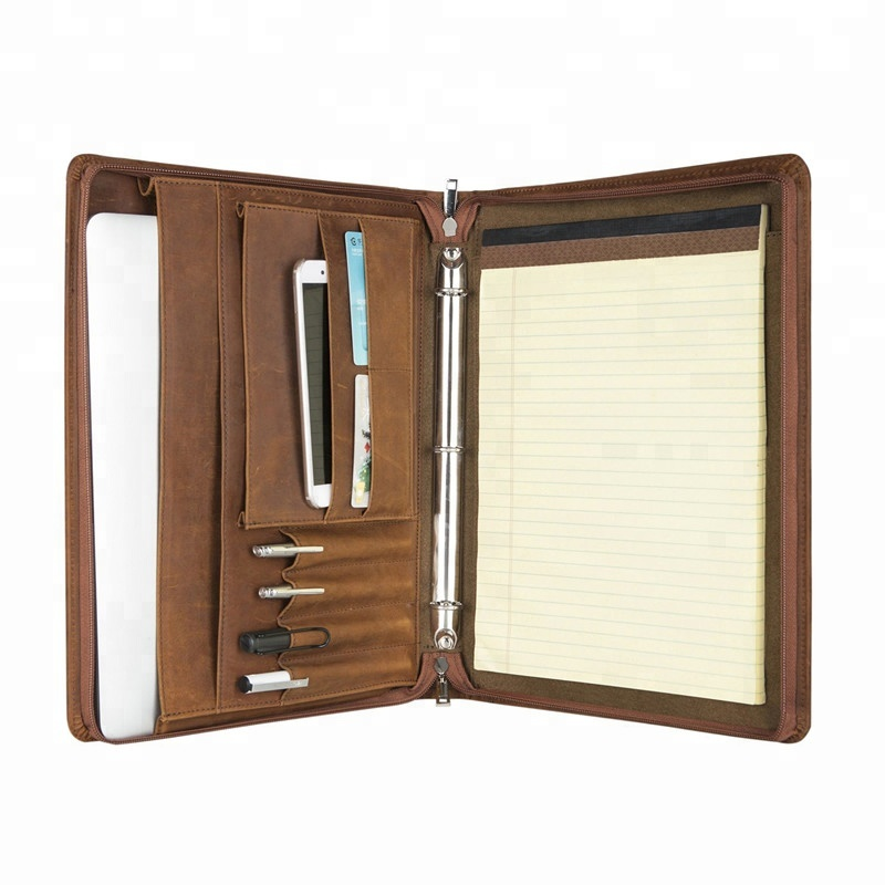 Zippered Leather Professional Business Men แฟ้มสะสมผลงาน 3 Ring Binder