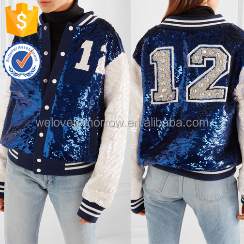 Sparking Royal-blue Embellished White Sequins Baseball Jackets For Ladies Manufacture Wholesale Fashion Women Apparel (TE0063C)