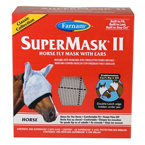 Farnam SuperMask II Horse Fly Mask with Ears Classic Collection, Assorted