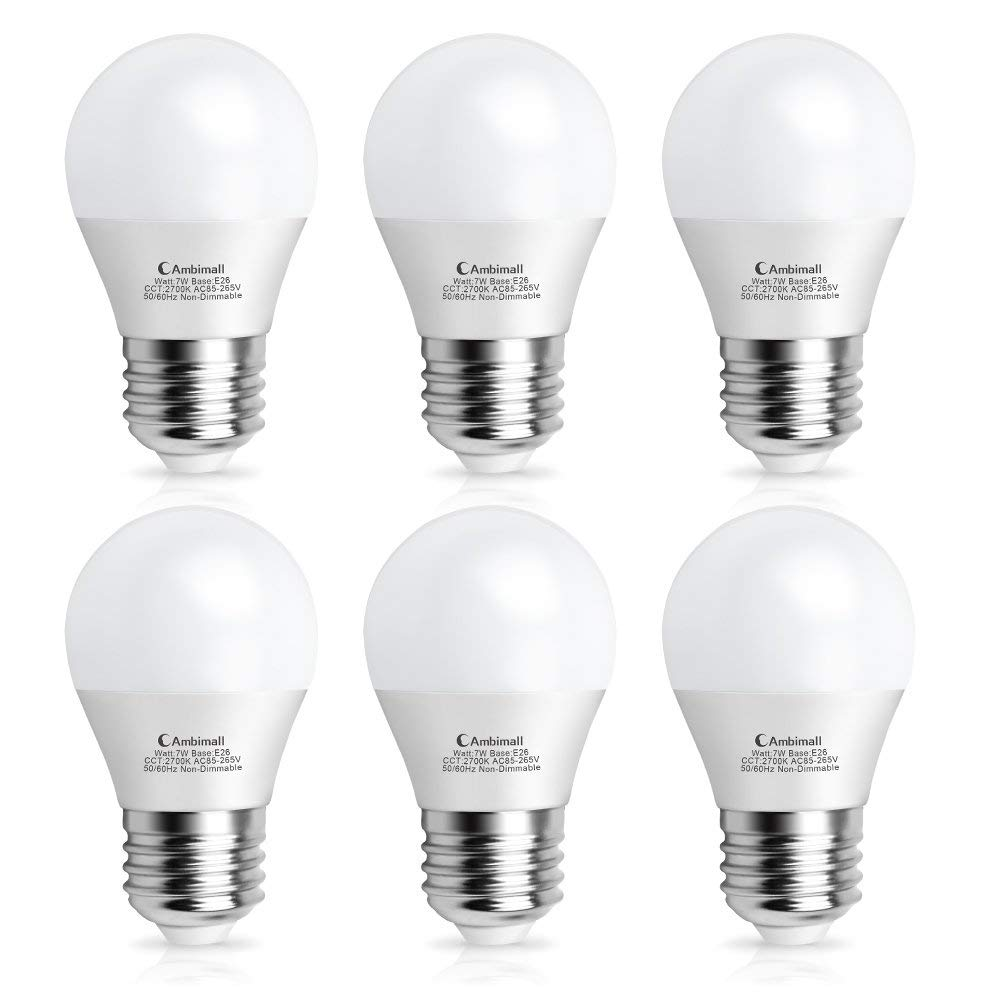 A15 Bulb Led 60Watts Equivalent, Ambimal G45 7Watt Appliance Light Bulb,Warm White 2700K 700Lumens,A15 Led Light Bulbs with E26 Medium Base Non-Dimmable, Perfect for Refrigerator(6 Pack) …