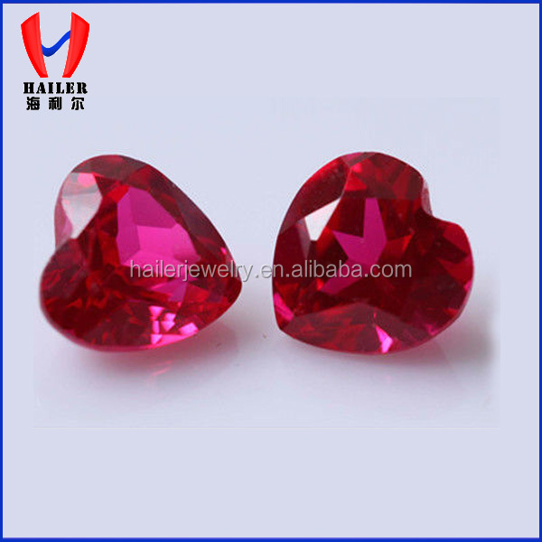 2015 New Product Heart shape synthetic ruby price