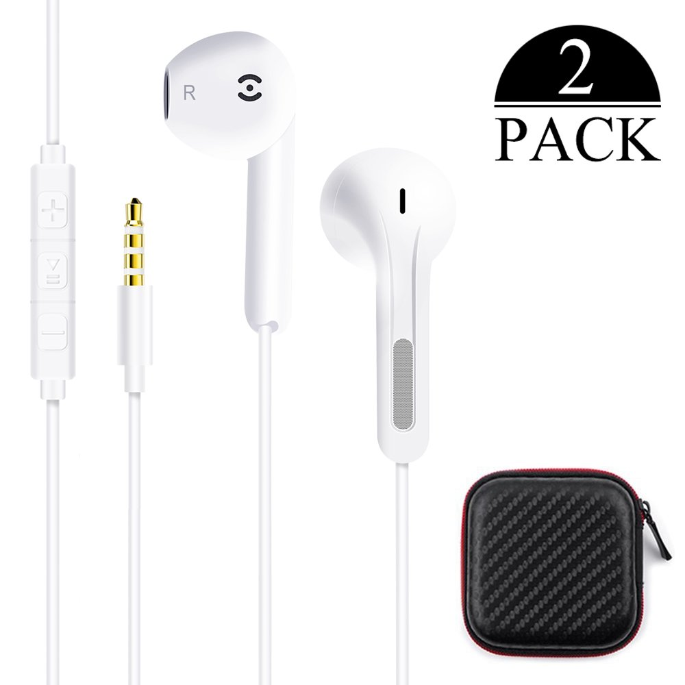 Ofuca 2Pack Earphones the Most Premium Earbuds Enhanced Bass&HD Stereo Headphones and Noise Isolating Headsets for 6s/6s Plus/6/6 Plus/5/5c/5se/4s/4 iPad/iPod and more iPhone Devices