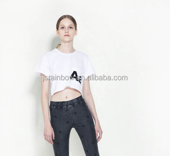 100 cotton custom printing women's blank crop top white t shirts
