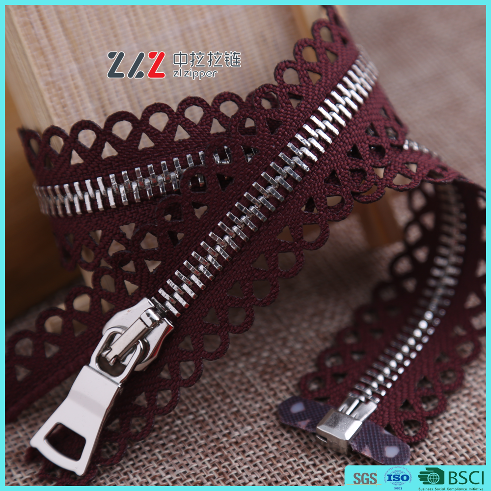 Lace zipper metal silver zipper open end