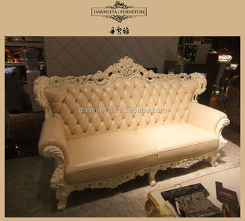 Victorian Style Oak Solid Wood Frame Leather Sofa M02#