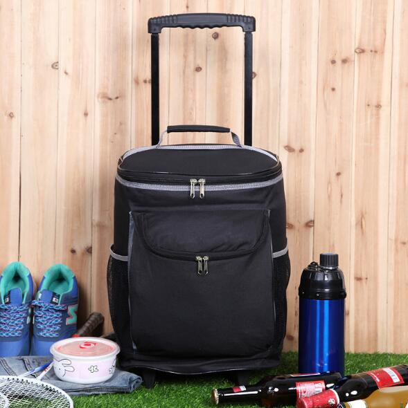 New large capacity customize multi functional food trolley picnic cooler bag with wheels for outdoor