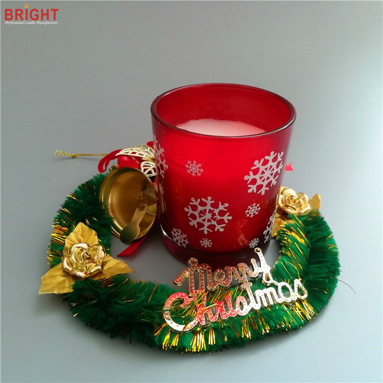Red Christmas vanilla scented decorative glass jar candles