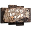 4 Panels Bible Verse Wall Art Jesus is My Rock Quotes Print on Canvas Religious Wall Decor Gallery Wrap Modern Home