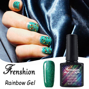 Frenshion Wholesale 2017 Most Selling Bling Bling Rainbow Gel Nail Glitter Uv Gel Colors Private Label Korean Nail Polish Vasi