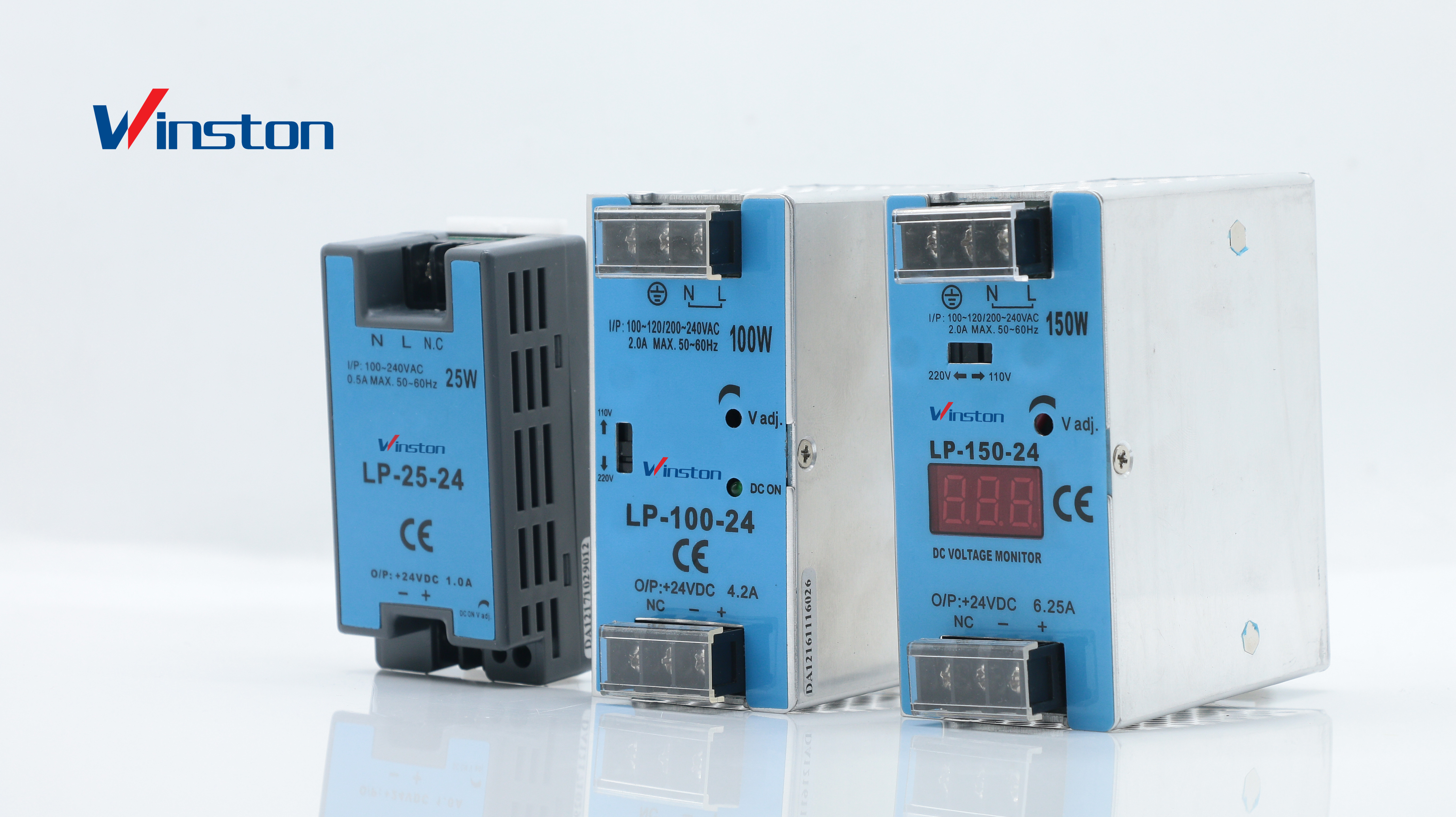 Din Rail Power Supply Voltage Monitor Display 300W Output 24V 12.5A LP-300-24