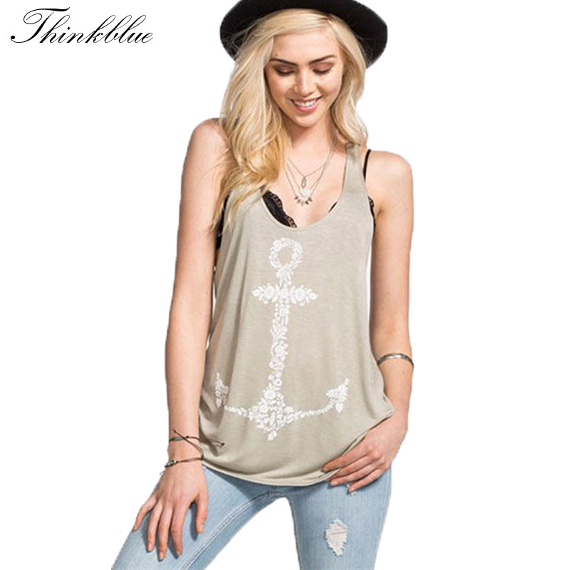 7b6e5c7fa80db8 2015 Summer Style Anchor Tank Top Womens O neck Printed Cotton Tank Tops  Loose Gym Tank Top Women Plus Size Tops Regata Gray XL