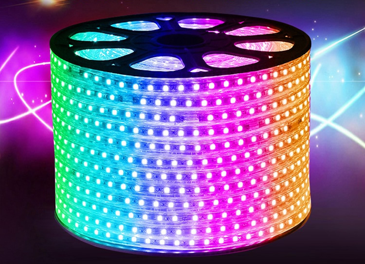 De alta tensão smd 5050 100 m 220 v rgb led strip