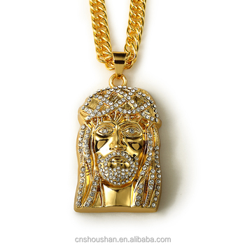 Gold chain men hip hop trendy long necklace 24k gold plated gold chain men hip hop trendy long necklace 24k gold plated crystal jesus pendant necklace jewelry aloadofball Images