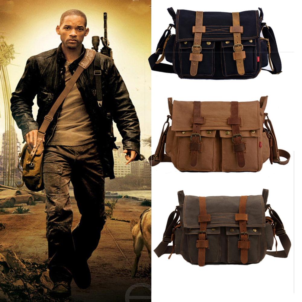 c21ac4ebd8 Men s Vintage Canvas Shoulder Bag Leather Satchel School Military Two Sided Shoulder  Bag Messenger Bag