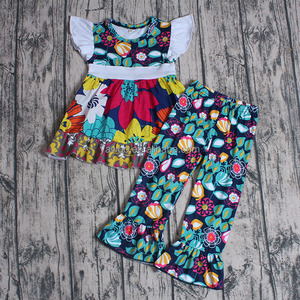 Wholesale Fashion Fly-sleeve Floral Dress and Fancy Ruffles Pants Girls Set Kids Clothing