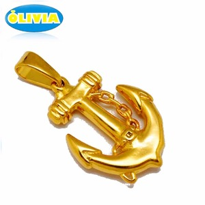 Wholesale fashion accessories charms anchor fish hook round gold pendant