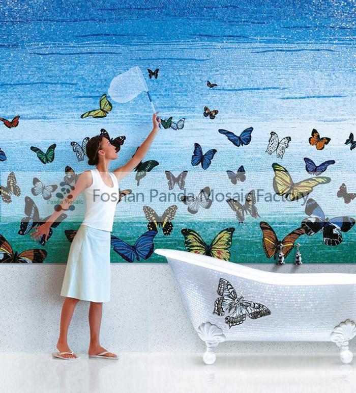Mb pmbu02 banyo dekor el yapımı cam mozaik çini duvar sanat duvar ...
