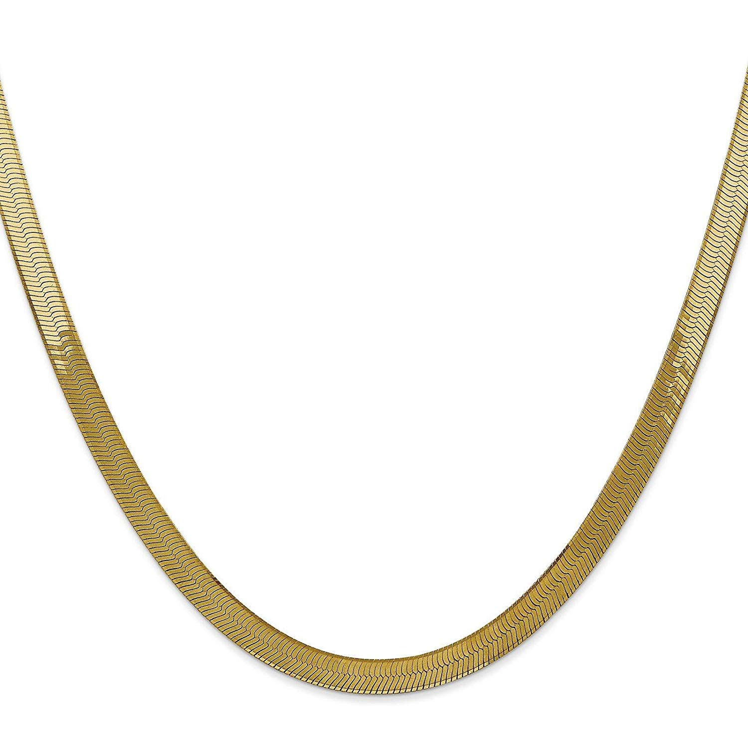 23cbf3de649c3d Get Quotations · 14k Yellow Gold 5.0mm Polished Silky Herringbone Chain  Necklace Bracelet 7