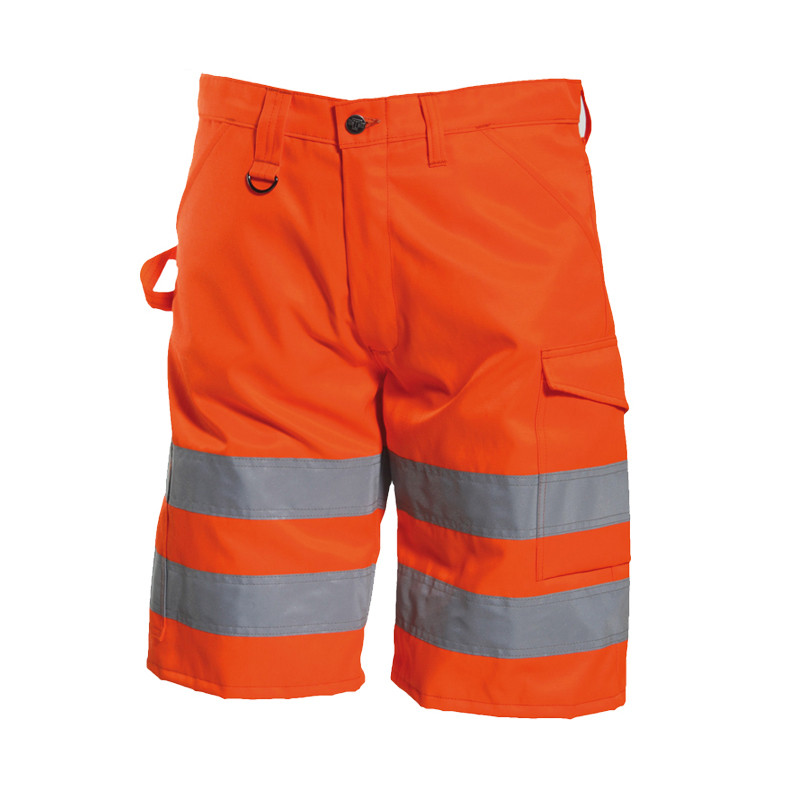 Wholesale work clothes hi vis <strong>orange</strong> reflective work shorts