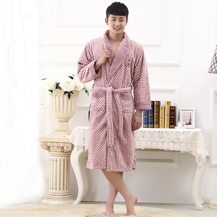 Buy High quality thicken Coral Fleece Bath Kimono Robe Winter Autumn ...