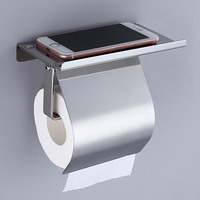 304 Stainless Steel Bathroom Fitting Toilet Paper Roll Holder With Shelf Paper Towel Holder