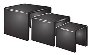 "Fixture Displays Set of 3 2""3""4""Black Plexiglass Lucite Acrylic Display Risers -1/8"" Thick 20004"