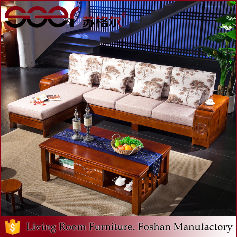 Foshan shunde oak legs sponge designs corner fabric sofa set