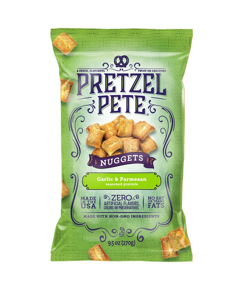 Pretzel Pete Seasoned Pretzel Nuggets, Garlic & Parmesan, 9.5 Ounce Bag (Pack of 3)