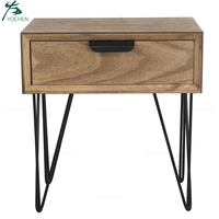 Home Furniture Pine Wood Nightstand Bedside Table with Metal Legs