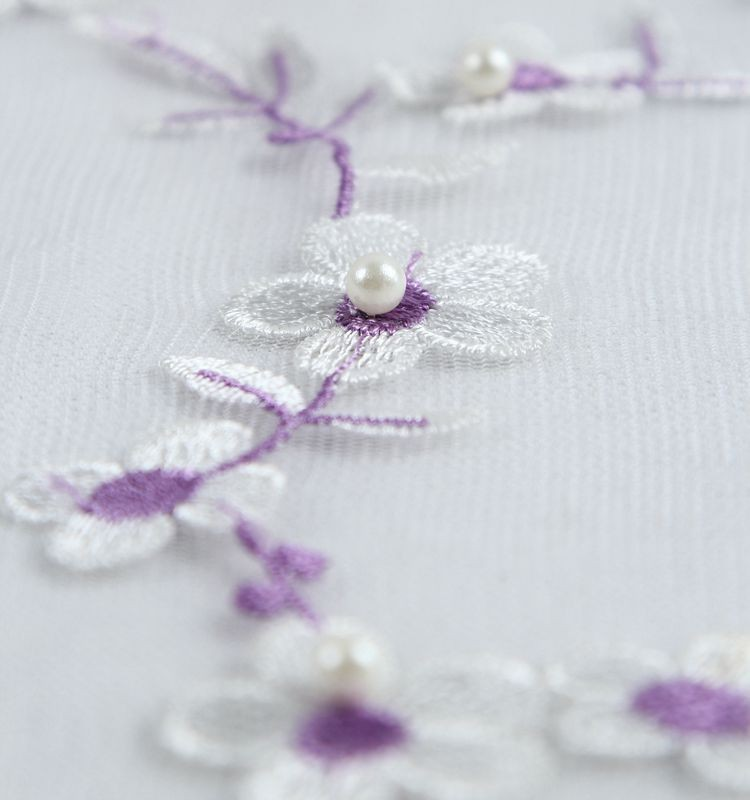 Eco-friendly solid dyed 3D little flower embroidered lace 100 polyester knitted fabric wholesale