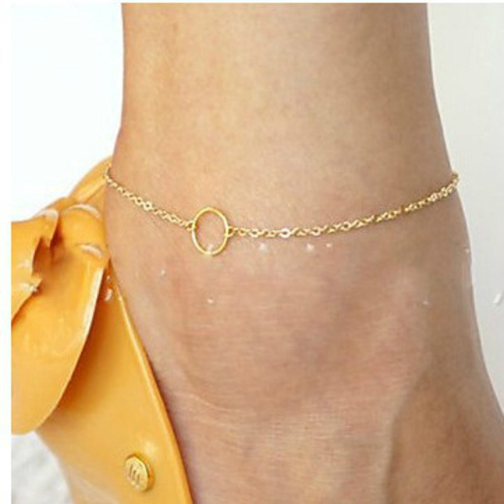 HUSUP&reg: Contracted Ring Circle Shiny Alloy Anklet